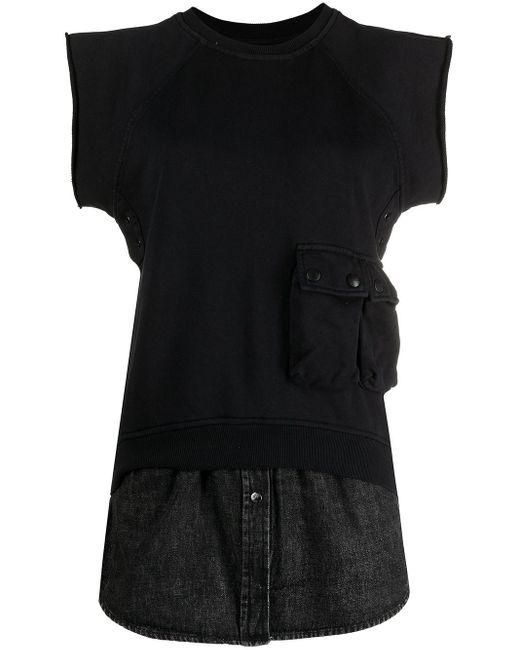 DIESEL デニムレイヤー スウェットシャツ Black