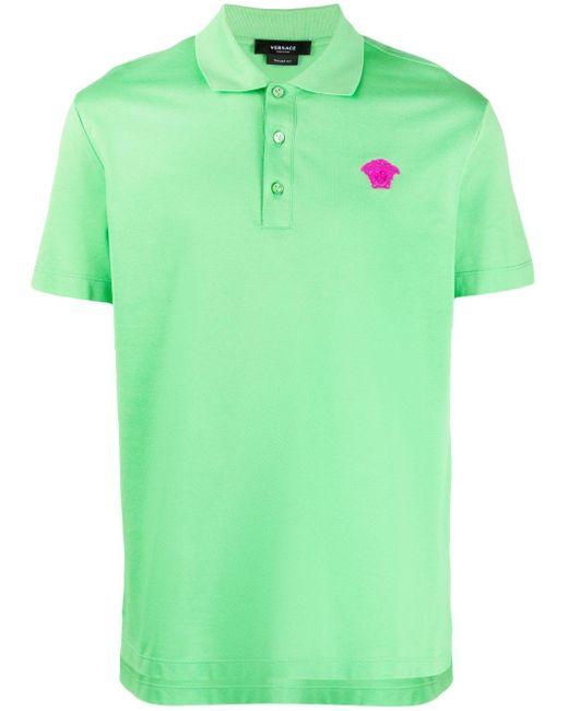 Versace Green Embroidered-logo Polo Shirt for men