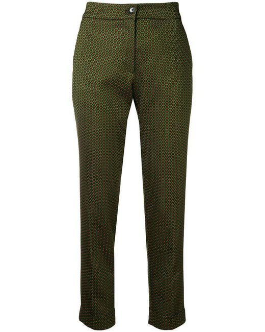 Etro - Green Printed Slim Trousers - Lyst