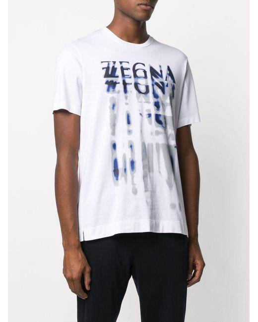 Z Zegna T-Shirt mit Distressed-Logo in White für Herren
