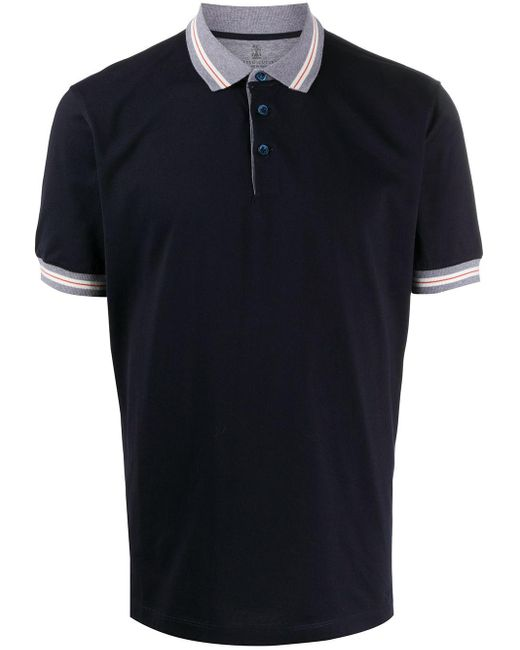 メンズ Brunello Cucinelli コントラストカラー ポロシャツ Blue