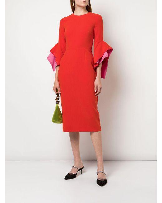 Roksanda ラッフルスリーブ ドレス Red