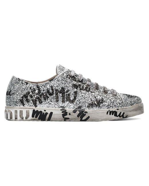 012fd5514f9e Miu Miu - Metallic Silver Logo Graffiti Glitter Leather Sneakers - Lyst ...