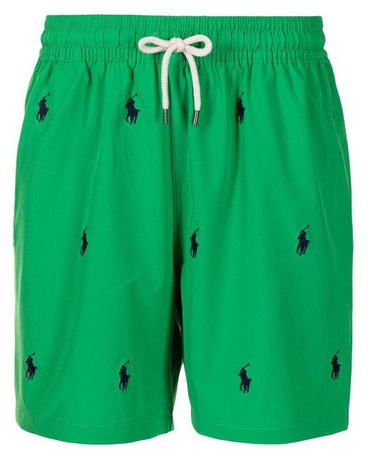 メンズ Polo Ralph Lauren ロゴ トランクス水着 Green