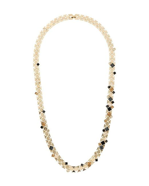 Lanvin - Metallic Embellished Stone Necklace - Lyst