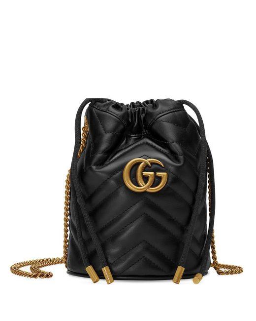 Gucci 〔GGマーモント〕ミニ バケットバッグ Black