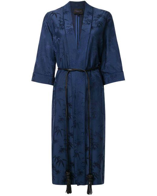 Shanghai Tang バンブージャカード ローブジャケット Blue