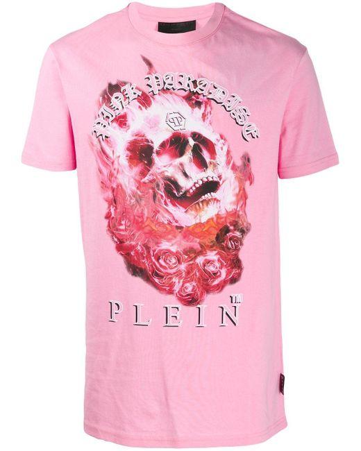 メンズ Philipp Plein プリント Tシャツ Pink