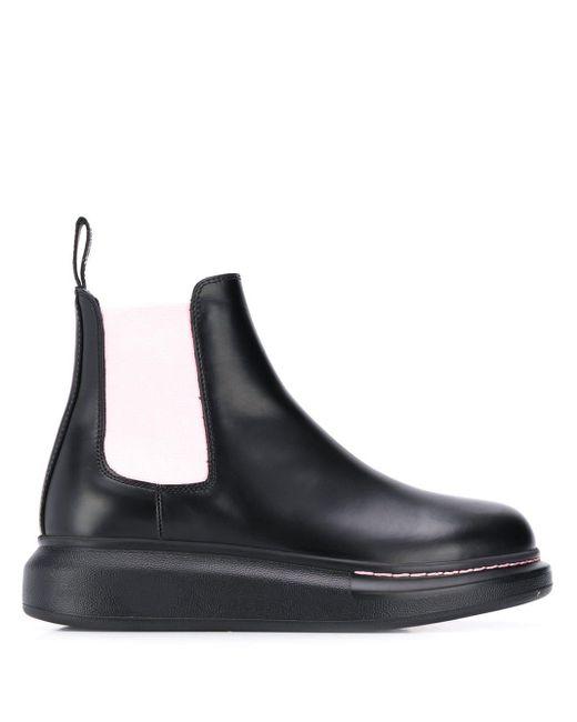 Ботинки Челси С Контрастными Вставками Alexander McQueen, цвет: Black