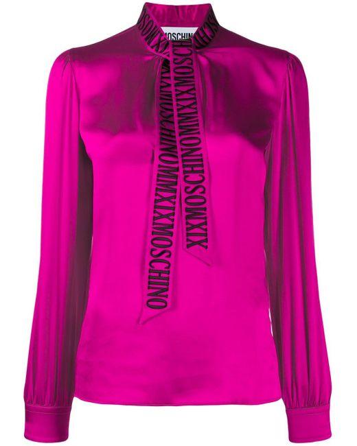 Moschino ロゴ ボウタイ ブラウス Pink