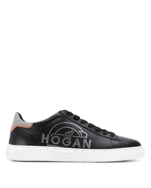 メンズ Hogan ロゴ ローカットスニーカー Black