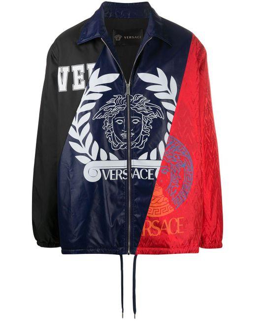 メンズ Versace ロゴ パネル ジャケット Multicolor