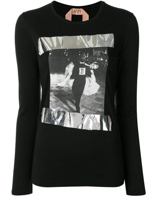 N°21 プリント ロングtシャツ Black