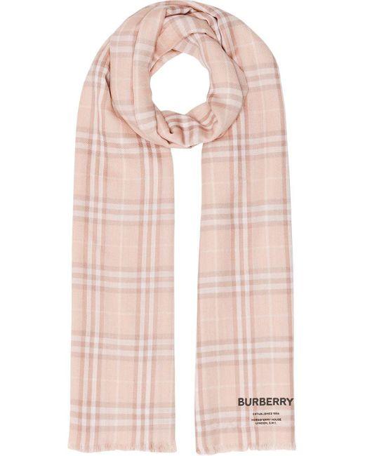 Burberry チェック カシミアストール Pink