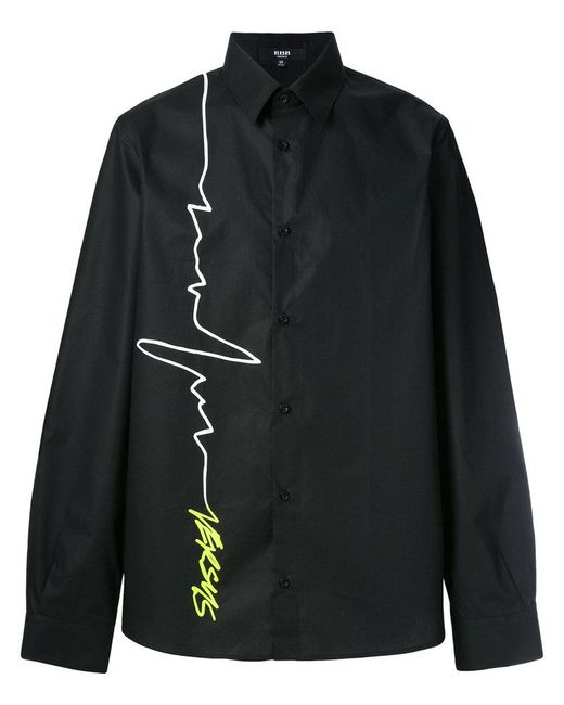 Versus  - Black Signature Logo Print Shirt for Men - Lyst