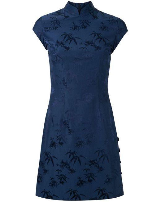 Shanghai Tang Bamboo ジャカード Qipao ドレス Blue