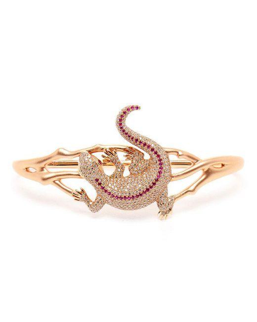 Gaydamak - Pink 18k Rose Gold And Ruby Iguane Hand Bracelet - Lyst