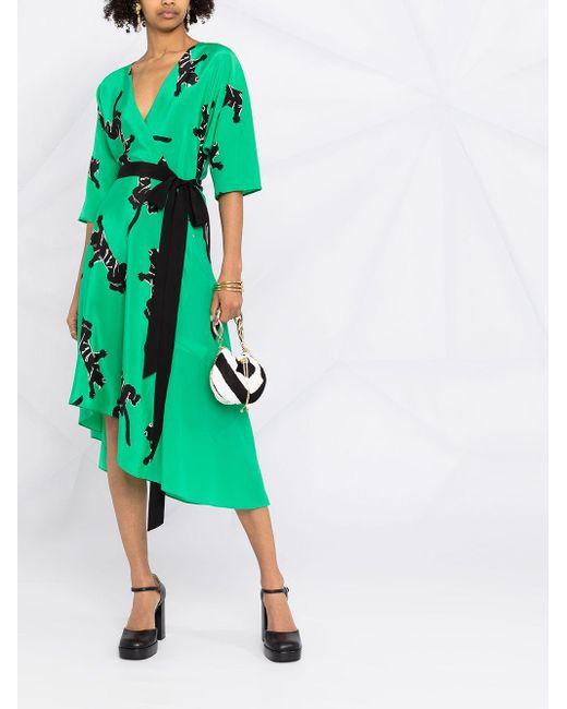 Diane von Furstenberg プリント ラップドレス Green