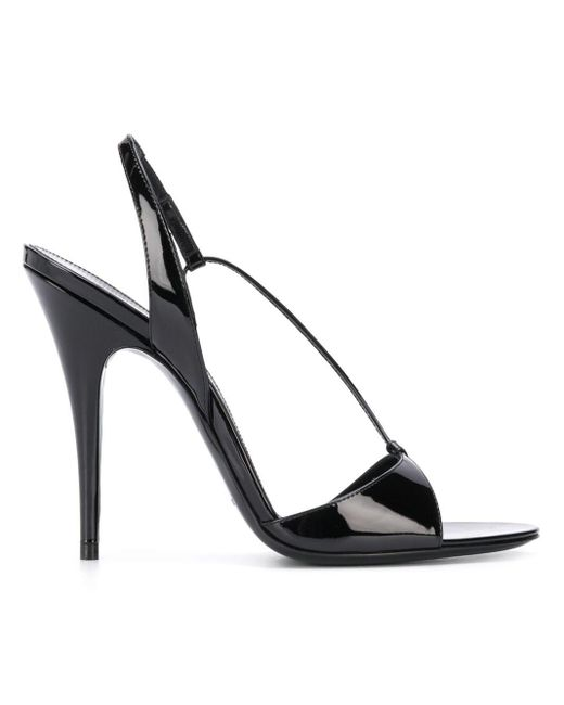 Saint Laurent Sandalias de charol de 120 mm de mujer de color negro