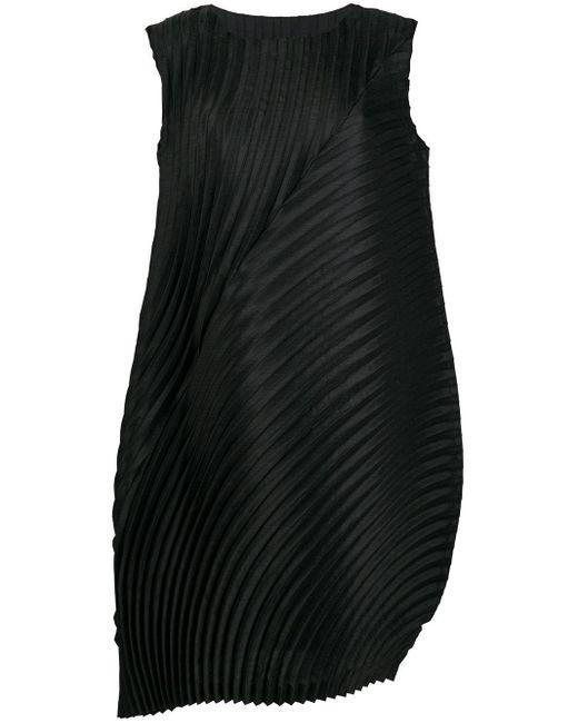 Issey Miyake プリーツ シフトドレス Black