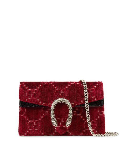 Gucci Red Dionysus GG Velvet Super Mini Bag