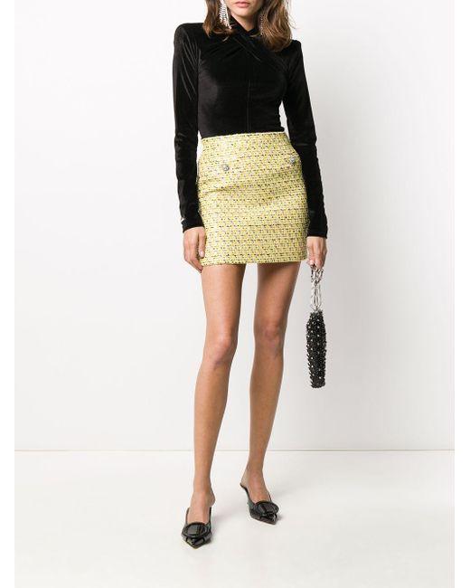 Alessandra Rich ツイード ミニスカート Yellow