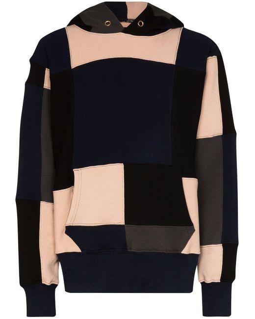 Les Tien Black Colour-block Hoodie for men