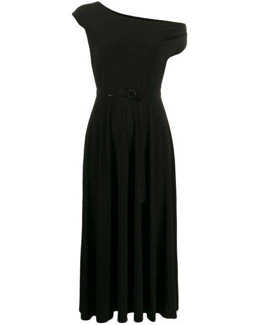 Norma Kamali ワンショルダー ベルテッドドレス Black