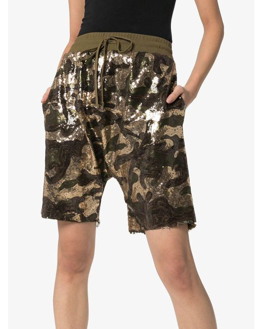 R13 Women's Green Sequinned Cotton Shorts