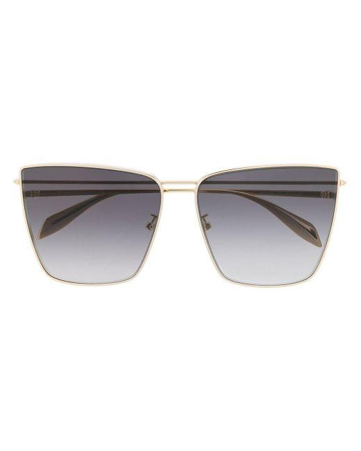 Солнцезащитные Очки В Массивной Квадратной Оправе Alexander McQueen, цвет: Metallic