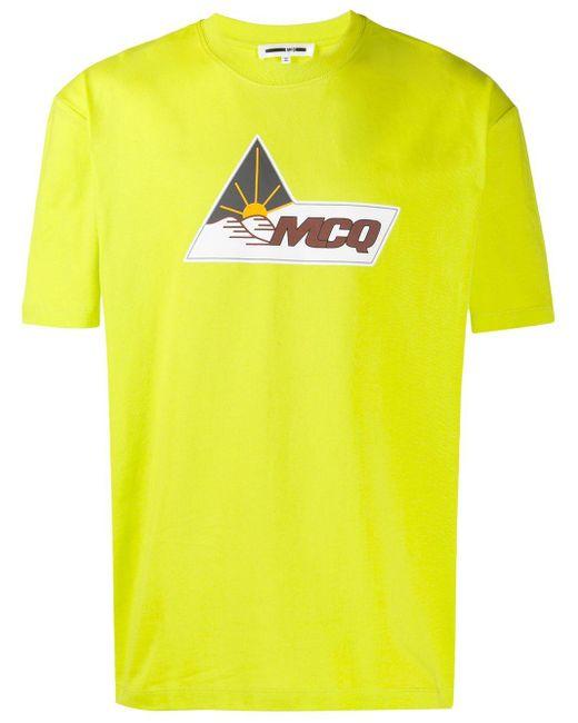 メンズ McQ Alexander McQueen ロゴ Tシャツ Yellow