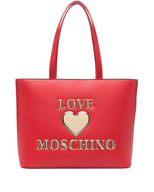 Love Moschino エンボスロゴ トートバッグ Red