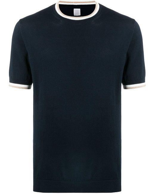メンズ Eleventy コントラストトリム Tシャツ Blue