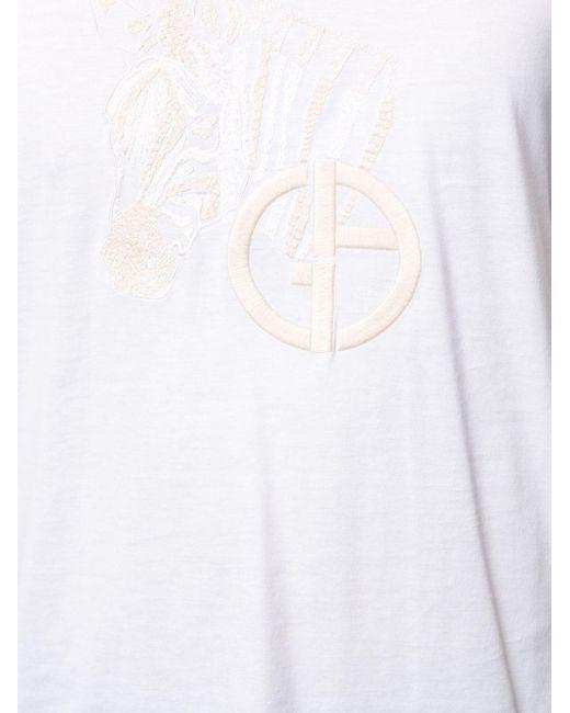メンズ Giorgio Armani エンブロイダリー Tシャツ White