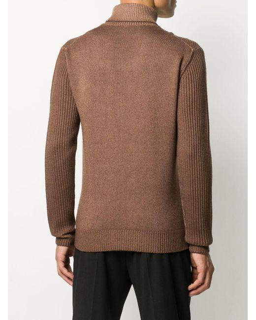 Altea Brown Cable-knit Roll Neck Jumper for men