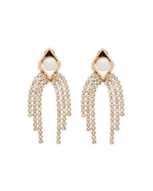 Anton Heunis Metallic 18kt vergoldete Ohrringe mit Perlen