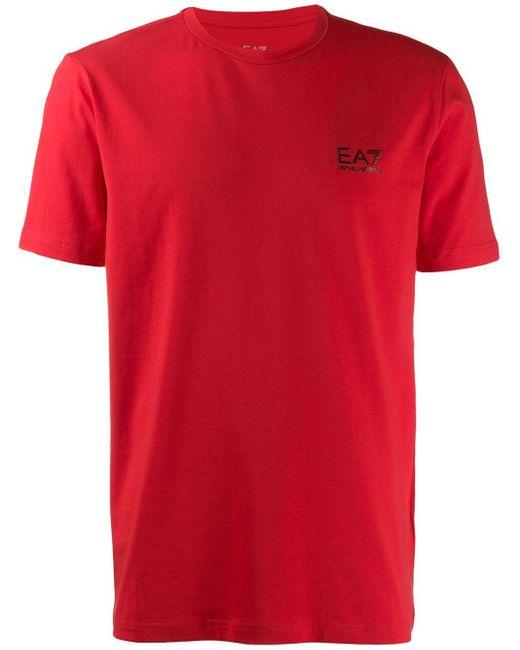 メンズ EA7 ロゴ Tシャツ Red