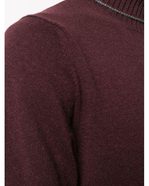 メンズ Eleventy カシミア タートルネックセーター Purple