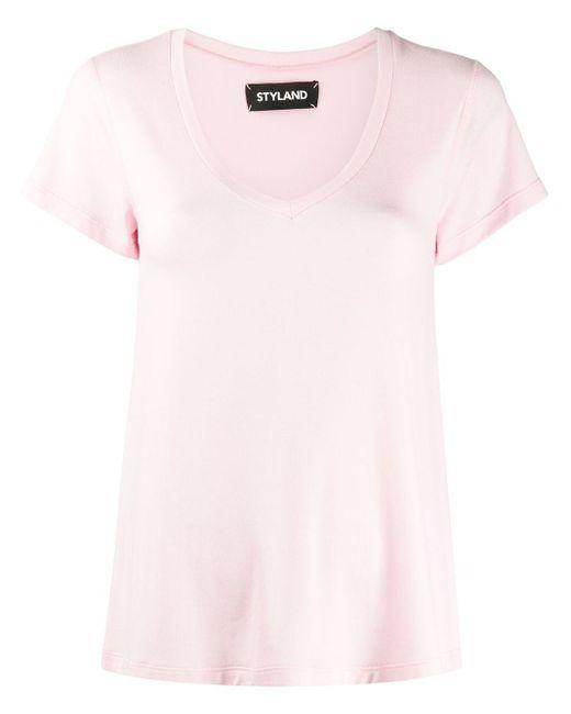 Styland Vネック Tシャツ Pink