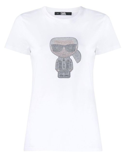T-shirt Ikonik Karl di Karl Lagerfeld in White