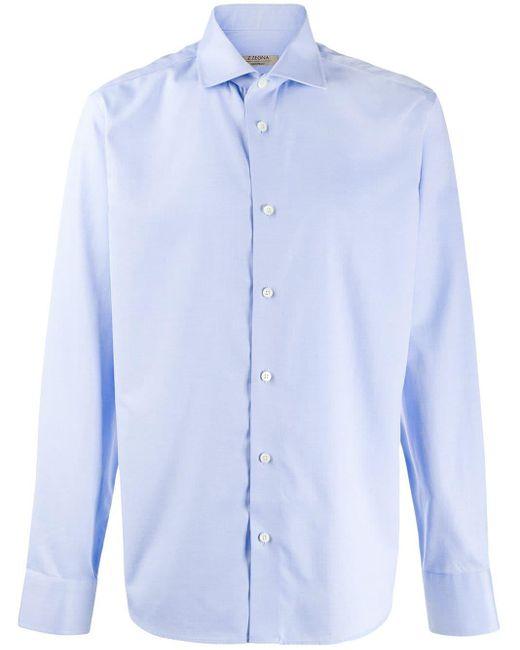 メンズ Z Zegna バットウィングカラー シャツ Blue