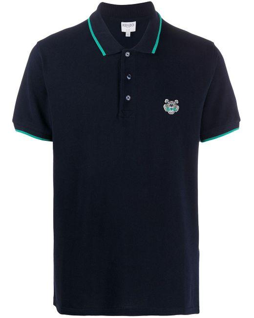 メンズ KENZO タイガー ポロシャツ Blue