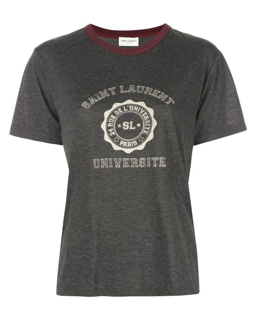 Saint Laurent Gray Graphic Print T-shirt