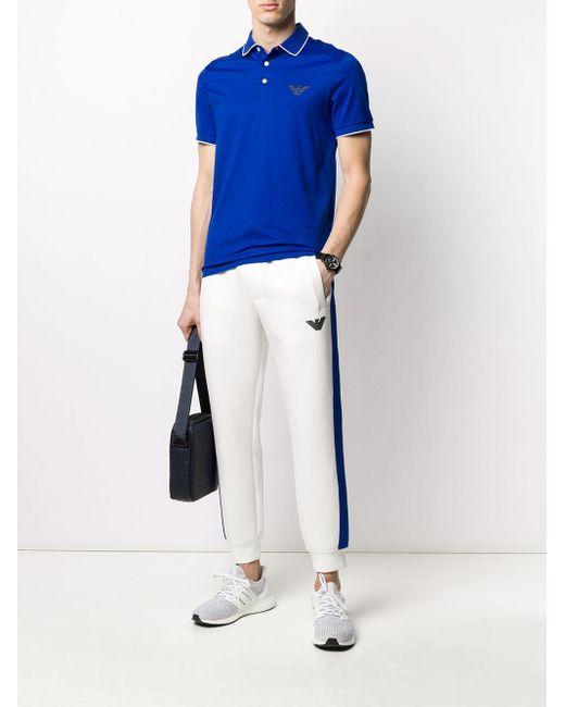メンズ Emporio Armani ロゴ ポロシャツ Blue