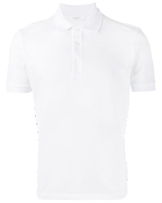 メンズ Valentino スタッズ装飾 ポロシャツ White