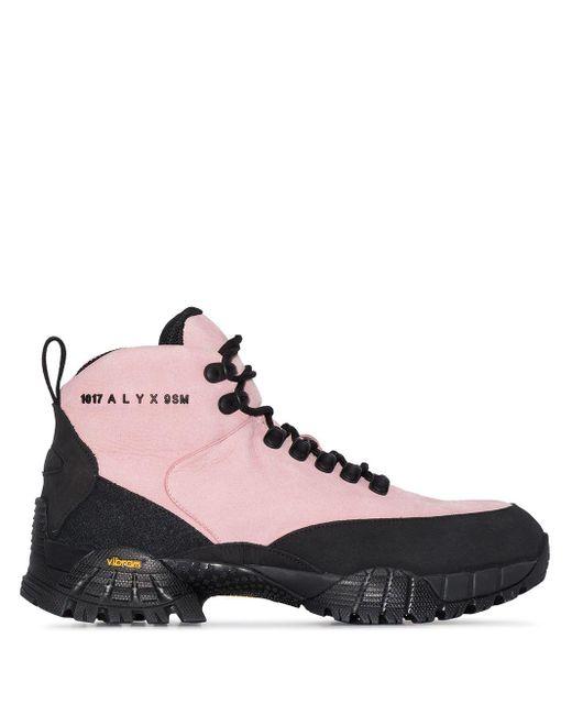 1017 ALYX 9SM Botas de montaña con logo estampado de mujer de color rosa