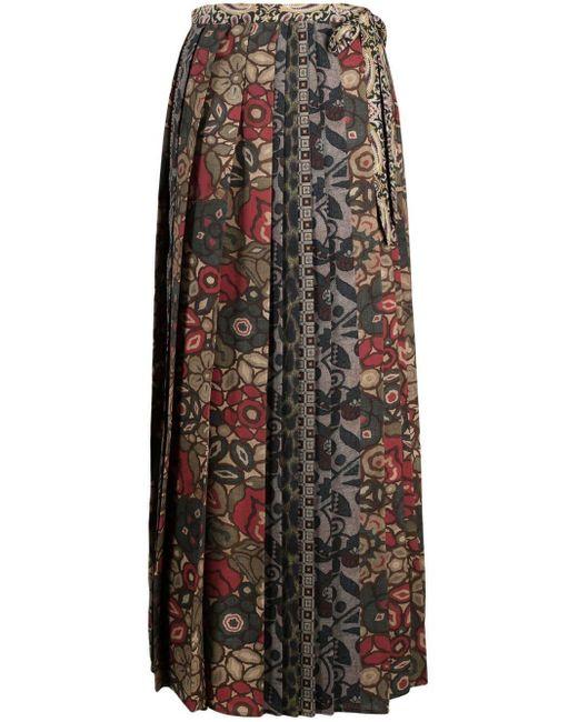 Pierre Louis Mascia Green Long All-over Print Skirt