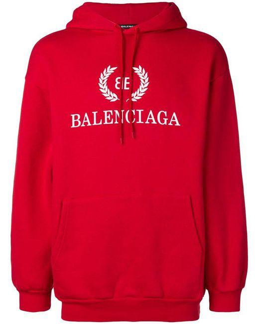 Balenciaga - Red Kapuzenpullover mit Stickerei for Men - Lyst