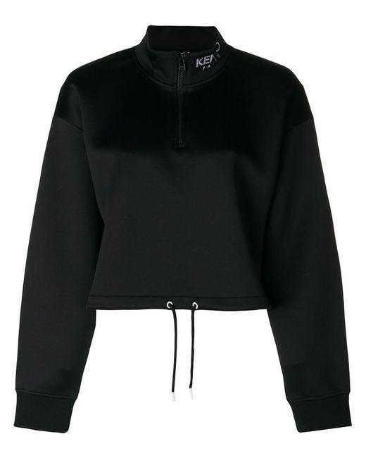KENZO - Black Cropped Scuba Sweatshirt - Lyst