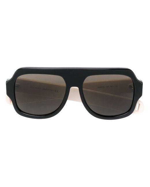 Gucci Striped Arm Logo Sunglasses Black